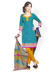 Fabdeal Blue & Yellow Printed Crepe & Chiffon Unstitched Dress Material