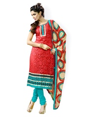 Fabdeal Red & Blue Embroidered Brasso Unstitched Dress Material