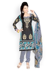 Fabdeal Black and Blue Printed Polycotton Unstitched Dress Material