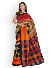 Fabdeal Multi-Coloured Bhagalpuri Silk Printed Saree