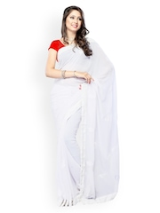 White Faux Georgette Embroidered Fashion Saree Fabdeal