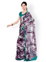 Brown Georgette Printed Saree Fabdeal