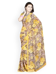 Yellow & Brown Georgette Printed Saree Fabdeal