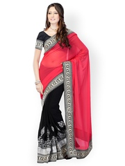 Fabdeal Black & Red Chiffon Fashion Saree