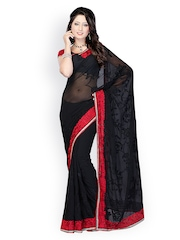 Black Embroidered Georgette Saree Fabdeal