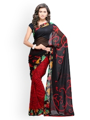 Fabdeal Black & Red Printed Georgette Fashion Saree