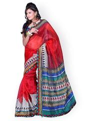 Fabdeal Red Printed Super Net Fashion Saree