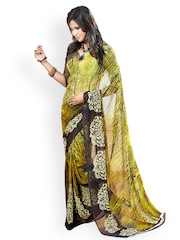 Light Green & Brown Georgette Printed Saree Fabdeal