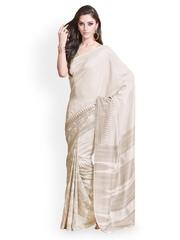Off White Printed Raw Silk Fashion Saree Fabdeal