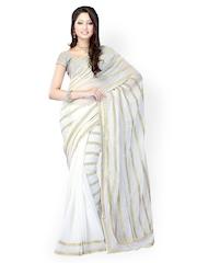Fabdeal White Embroidered Chiffon Fashion Saree