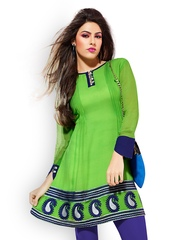 Fabdeal Women Green Embroidered Kurti