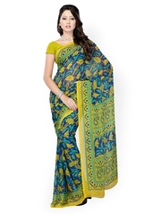 Blue & Olive Green Faux Georgette Printed Saree Fabdeal