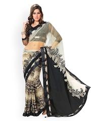 Fabdeal Off-White & Black Printed Satin Fashion Saree