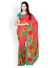 Fabdeal Pink Faux Georgette Printed Saree