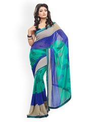 Fabdeal Sea Green and Blue Printed Chiffon Saree