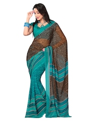 Teal Blue & Brown Georgette Printed Saree Fabdeal