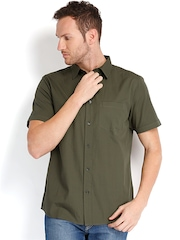 Fabels by Fabindia Men Olive Green Casual Shirt