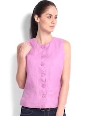 Fabels by Fabindia Women Pink Linen Waistcoat