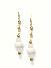 Fabindia Amna Gold-Toned & White Drop Earrings