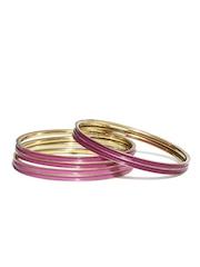 Fabindia Amna Set of 5 Pink & Gold-Toned Bangles