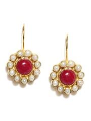 Fabindia Ananya Pink & Gold-Toned Drop Earrings