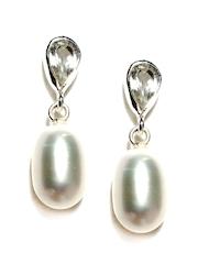 Fabindia Ananya Silver Toned & White Drop Earrings