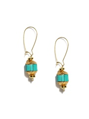Fabindia Anusuya Gold-Toned & Sea Green Drop Earrings