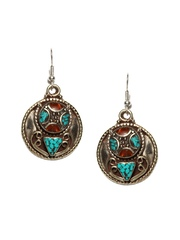 Fabindia Anusuya Oxidised Silver-Toned & Sea Green Drop Earrings