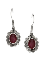 Fabindia Anusuya Silver-Toned & Wine-Coloured Drop Earrings