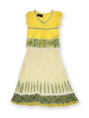Fabindia Girls Yellow & White Clothing Set
