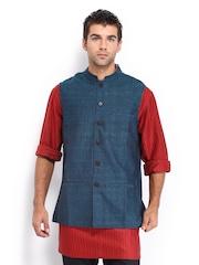 Fabindia Men Teal Blue Handwoven Silk Nehru Jacket