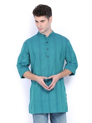 Fabindia Men Blue Striped Short Kurta