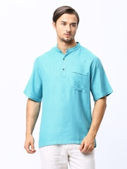Fabindia Men Blue Tussar Silk Blend Short Kurta