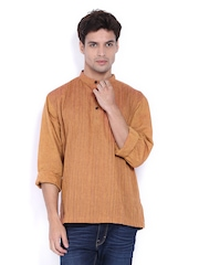 Fabindia Men Brown Pin Tuck Kurta