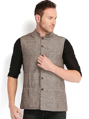 Fabindia Men Beige & Black Silk Sleeveless Nehru Jacket