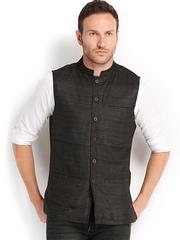 Fabindia Men Black Silk Sleeveless Nehru Jacket
