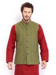Fabindia Men Olive Green Hand Embroidered Nehru Jacket