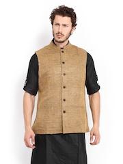 Fabindia Men Brown Silk Nehru Jacket