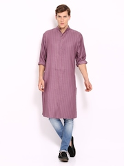 Fabindia Men Mauve Pin Tuck Tussar Silk Blend Kurta