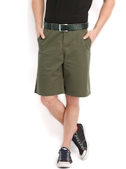 Fabels by Fabindia Men Olive Green Shorts