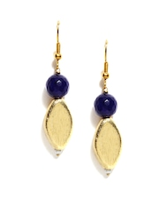 Fabindia Ananya Blue & Gold Toned Drop Earrings