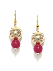 Fabindia Pink & Gold Plated Drop Earrings