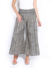 Fabindia Women Blue & Grey Printed Palazzo Pants