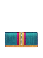 Fabindia Yellow & Blue Clutch