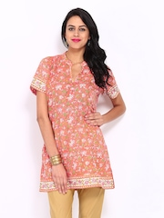 Fabindia Women Coral Red Printed Kurta