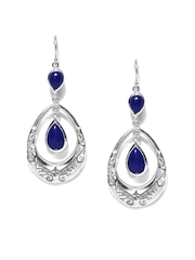 Fabindia Ananya Blue & Silver Drop Earrings