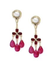 Fabindia Ananya Gold-Toned & Pink Drop Earrings