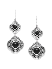 Fabindia Ananya Silver & Black Drop Earrings