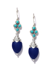 Fabindia Ananya Silver & Blue Drop Earrings