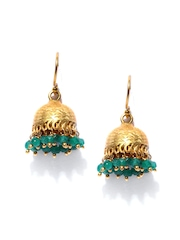 Fabindia Anusuya Gold Toned & Green Drop Earrings